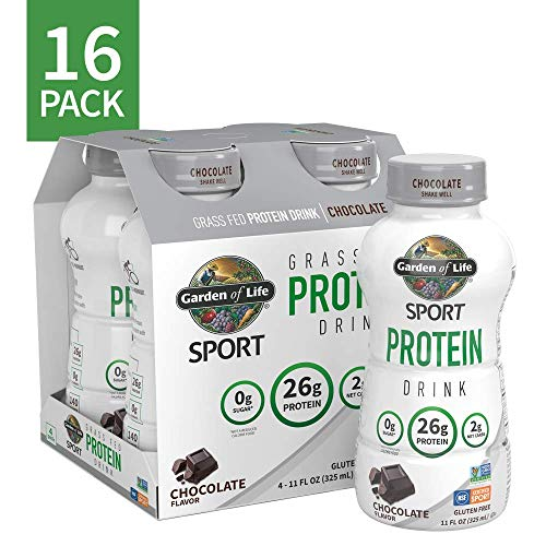 Garden of Life Sport Grass Fed Protein Shake - Chocolate, 16-Pack, Ready to Drink Dairy Protein Shakes, 26g Clean Complete Protein, Low Carb, 0g Sugar, Gluten Free, 16-11 fl oz High Protein Drinks