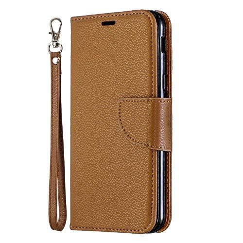 Galaxy A6 2018 Hülle, SONWO Premium PU Leder Flip Brieftasche Handyhülle mit Karteneinschub und Magnetverschluss für Galaxy A6 2018, Brown