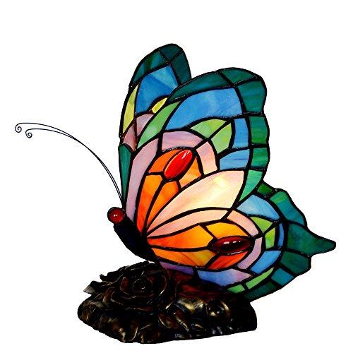 Bieye L30040 9 pouces Papillon Lampe de table latérale en verre teinté de Tiffany style