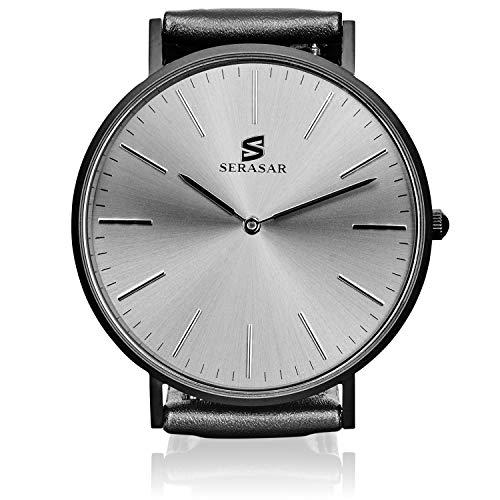 SERASAR - Armbanduhr Männer mit Lederarmband Black ONE - Ø40mm Herren-Uhr Analog Zeitmesser Armbanduhren Mann Armband-Uhren Herrenarmbanduhren Herren-Uhren Armuhr Metalluhr Slim Wrist-Watch