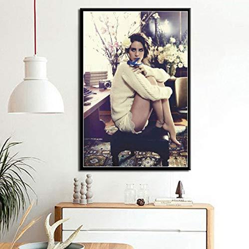QIANLIYAN Poster druckt Neue Lana Del Rey Soul Popmusik Sänger Model Star Art Leinwand Malerei Wandbilder für Wohnzimmer Home Decor 40X60Cm ohne Rahmen