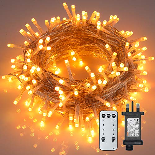 24m/80ft Christmas Lights Fairy Lights Plug in 240 LEDs String Lights with Remote Timer 8 Modes Mains Powered Twinkle Firefly Lights for Home Indoor Bedroom Party Christmas Decorations, Warm White