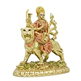 Hindu Goddess Small Durga Statue - Indian God Durga on Tiger Figurines Decoration Hinduism Buddha Idol Home Office Temple Puja Sculpture Mandir Murti Diwali Pooja Gifts Yoga Meditation Altar Shrine
