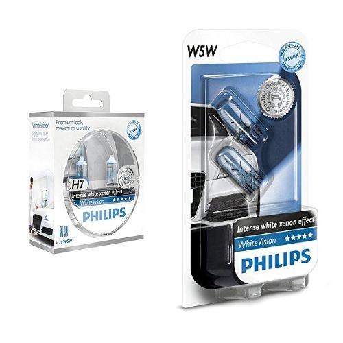 Philips WhiteVision Xenon-Effekt H7 Scheinwerferlampe 12972WHVSM, 2er-Set + Philips WhiteVision Xenon-Effekt W5W Scheinwerferlampe 12961NBVB2, Doppelblister, 12V, 5W