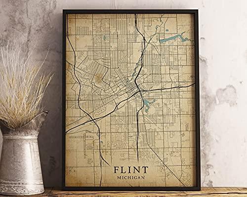 MG global - Póster de mapa de Flint Mi, Michigan Estados...