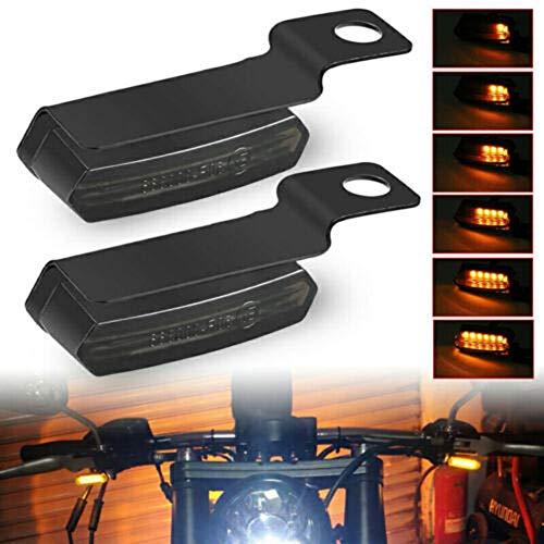 QoFina 2 Stück / 1 Paar 12V Led Motorrad Mini Blinker, LED Blinker Motorrad Universal,Motorrad Blinker Motorrad LED Lauflicht Bernstein