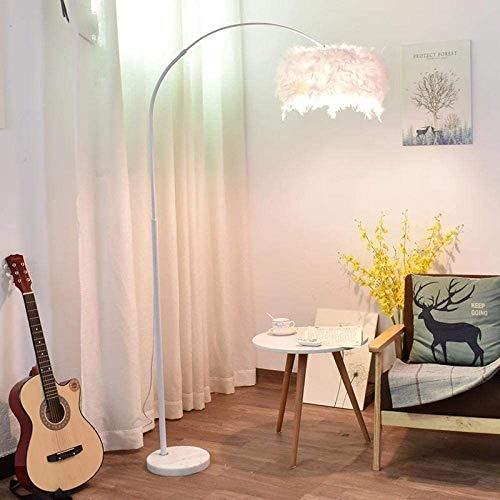 Henseek Jahreszeitentisch Fernbedienung LED Stehlampe, einfache Eisen Licht Luxus Stehlampe for Wohnzimmer-12W Fernbedienung Schnur-Lichter (Color : White Feather)