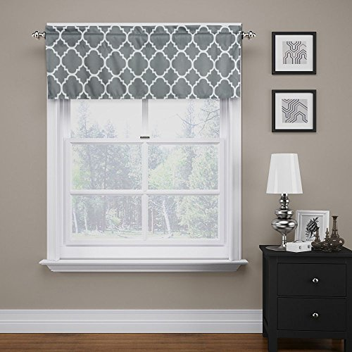"""Flamingo P Moroccan Valance Curtain Extra Wide and Short Window Treatment for for Kitchen Living Dining Room Bathroom Kids Girl Baby Nursery Bedroom (Gray - 52"""" x 18"""")"""