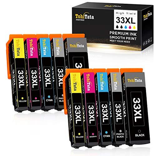 TohiTata 33XL Sostituzione per Cartucce d'inchiostro Epson 33 Compatibile con Epson Expression Premium XP-900 XP-530 XP-830 XP-630 XP-640 XP-7100 XP-540 XP-645 XP-635 (10 Pezzi)