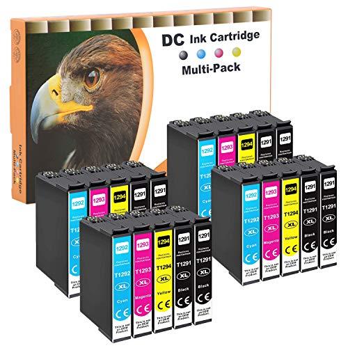 D&C - Juego de 20 cartuchos de tinta compatibles con Epson 129-XL T-1291 T-1292 T-1293 T-1294 para Workforce WF-3520 WF-3540 WF-7525 WF-7515 Stylus SX-235 SX-425 SX-445 SX-5 Office BX-630 .