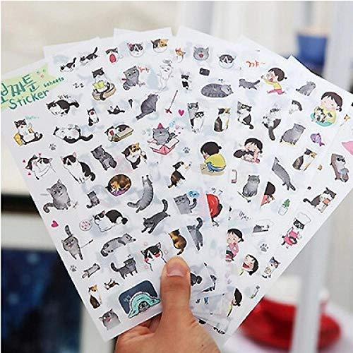 Wawale stickers van transparant PVC, schattige decoratieve stickers voor fotoalbums, zwart en wit (12 foto's)
