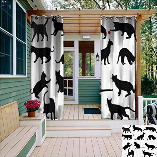 Cat Room Darkening Drape for Balcony Silhouette of Kittens in Various Postures Playing Red Ball Animal Pet Paw Print Outdoor Drape for Pergola/Porch, Tan Vermilion Black W108 x L84 Inch