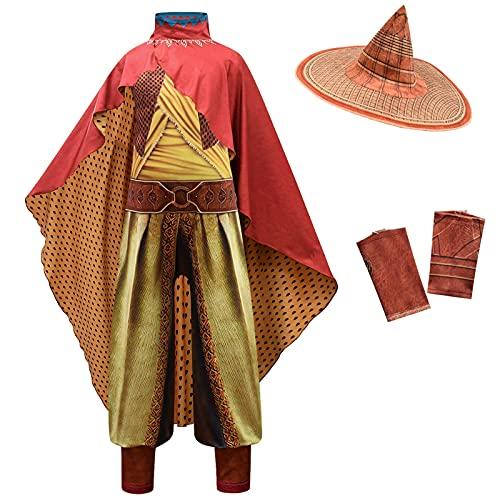 ACCLD Raya y el ltimo dragn nios Cosplay Leyenda Disfraz de Halloween Raya Mono Conjunto de Lujo Disfraz de actuacin para nios pelcula,Amarillo,L