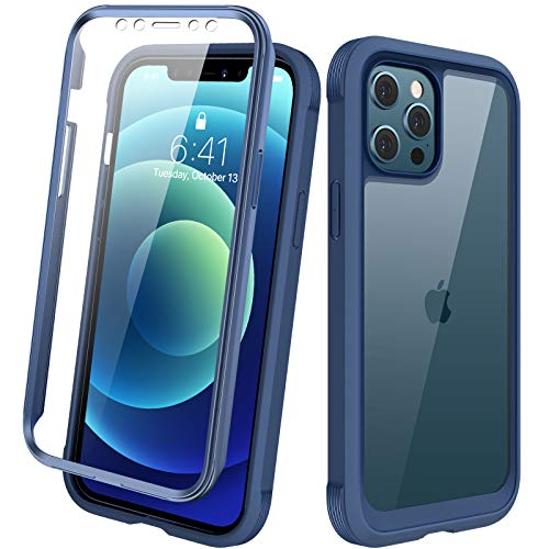 "Diaclara Designed for iPhone 12/12 Pro Case, Full Body Rugged Case with Built-in Touch Sensitive Anti-Scratch Screen Protector, Soft TPU Bumper Case for iPhone 12/12 Pro 6.1"" (Dark Blue and Clear)"