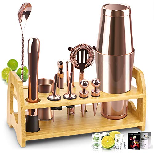 Bartender Kit, 13 Pcs Boston Cocktail Shaker Stainless Steel Bar Set with 18oz/28oz Shaker Tins,Measuring Jigger, Spoon, Pourers, Muddler, Strainer, Tongs, Bottle Stoppers, Opener, Stand, Recipes