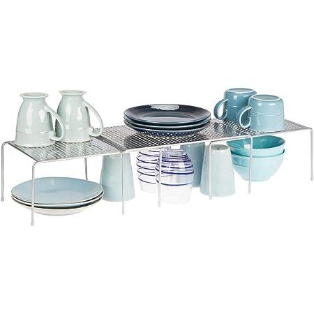mDesign étagère de cuisine (lot de 3) – égouttoir pratique en métal pour plus d'espace de rangement – étagère cuisine télescopique rétractable – couleur argenté