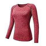 Camisetas de manga larga de las mujeres Casual Fitness elástico ropa térmica capa base Tops Femme