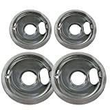 RO6G (4) Chrome Drip Pan Set W10278125 Replacement for Amana Crosley Frigidaire Maytag Whirlpool Two 6-Inch and Two 8-Inch