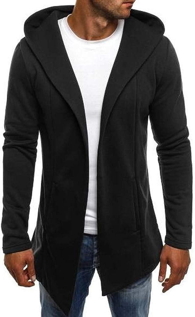 Mens Teen Boys Long Sleeve Open Front Hooded Jacket Trench Coat Casual Cardigan Long Sleeve Outwear Sweatshirt