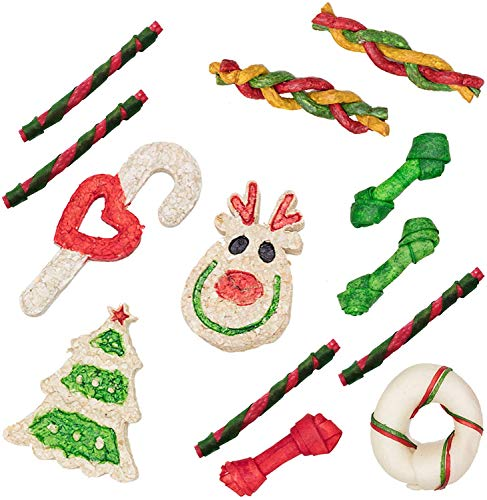 MON2SUN Christmas Dog Rawhide Treats Holiday Stocking for Small to Medium Dogs 12oz (13Count)