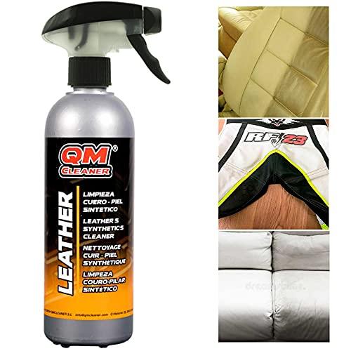 QM Cleaner LEATHER | Limpiador para cuero, piel y polipiel - Ideal para sillones, tapicerías de vehículos y complementos (Bolsos, chaquetas...) - 500ml