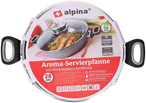 alpina Servierpfanne 28 cm Induktion - Schmorpfanne mit Deckel - Induktion Bratpfanne - Bratentopf Glasdeckel - Induction Cookware Schmorkasserolle Pfanne