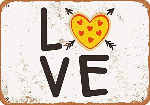 Letrero de madera colgante retro de Pizza Love de 20 x 30 cm
