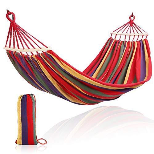 AVNICUD Amaca in cotone per esterni, 280 x 80 cm, portata fino a 300 kg, amaca portatile da campeggio con borsa per il trasporto per terrazza, cortile, giardino, viaggi, spiaggia