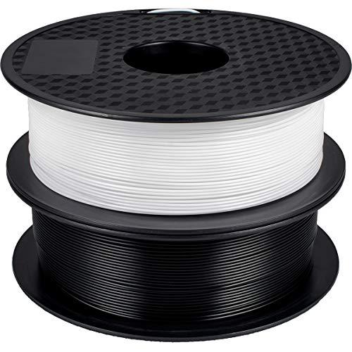 GEEETECH 3D Filamento PLA 1,75 mm, per stampante 3D un rotolo ciascuno in bianco e nero ,nuovo nero & bianco