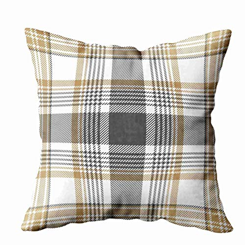 N\A Decorative Pillow Covers,Gold Checkered Plaid Pattern Sofa Pillow Cases,Throw Pillow Covers,Ivory Green