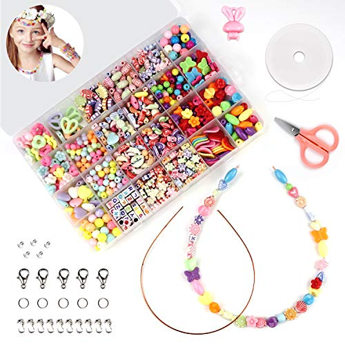 unisoul Perlen Zum Auffädeln, DIY Buchstaben Perlenschmuck für Kinder, Schmuck Schnurset Halsketten Armbänder Selber Machen Perlen Set Geburtstagsgeschenk für Mädchen, 24 Farben