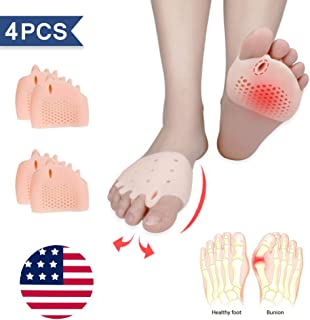 (4PCS) Ball of Foot Cushions, Bunion Corrector, Metatarsal Pads/Cushion-Reusable-Toe Separator, Soft Gel &Breathable, Best for Mortons Neuroma, Diabetic Feet, Hammer Toe, Rapid Pain Relief