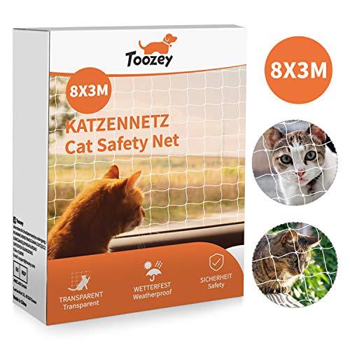 Rete per gatto Toozey Rete per protezione gatto per balcone e finestra, Rete per balcone 8x3 m, Rete per protezione gatto per balcone trasparente incl. Corda di fissaggio e fascetta