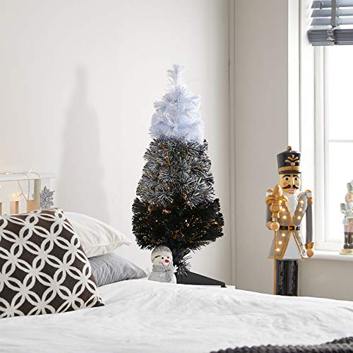 The Winter Workshop - 3ft / 90cm Fibre Optic Artificial Christmas Tree - 90 Black Fade To White Branch Tips & 18 Warm White LED's