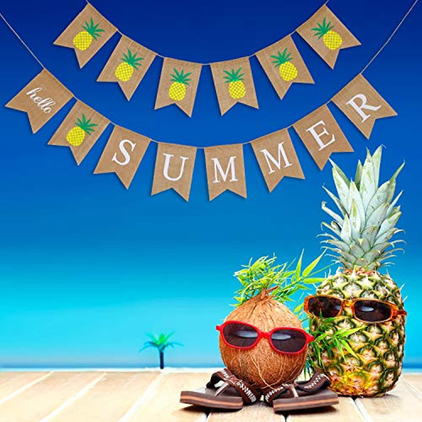 Chinco 2 Pieces Hello Summer Banners Pineapple Sign Burlap Banners Summer Banner Garland Decorations for Summer Hawaiian Pool BBQ Party Supplies