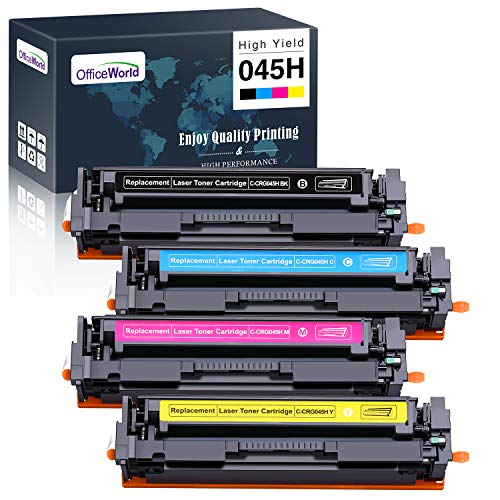OfficeWorld Compatible Toner Cartridge Replacement for Canon 045H 045 High Yield, for ImageCLASS MF634Cdw LBP612Cdw MF632Cdw MF634 MF633Cdw LBP611Cn Printer 4 Pack (Black, Cyan, Magenta, Yellow)