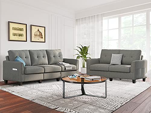 Belffin Sofa and Loveseat Sets 2 Piece Furniture Sofa Set for Living Room Couch Sofa Loveseat Set Grey