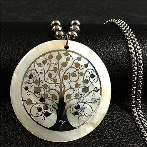 Dfgh Shell RVS Verklaring Collier Vrouwen Tree of Life Rose Gold Color Lange Ketting Jewelry (Metal Color : D Silver 5cm)