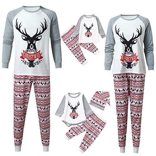 Joykith Merry Christmas Pajamas Set for Family,Matching Family Pajamas for Women Men Xmas Boys and Girls Jammies Outfit 10-11T Kid White