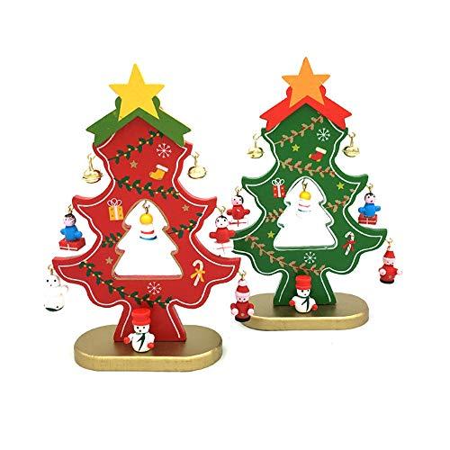 SHDT 2 PCS De Mesa Mini Árbol De Madera De Navidad con 8 Mini Adornos para Decoraciones De Navidad