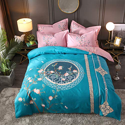 BH-JJSMGS Printed duvet cover and pillowcase, bedding-resistant to fading and staining, with zipper opening and closing, 200 * 230cm dream-blue