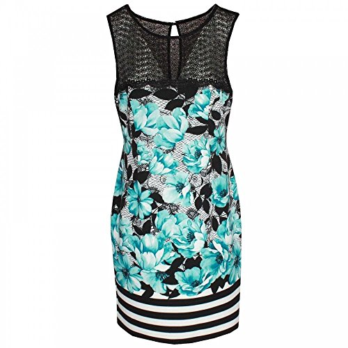 Michaela Louisa Sleeveless Floral Print Lace Neck Dress 12 Aqua Multi