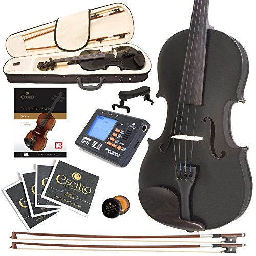 Cecilio CVN-Black Ebony Fitted Solid Wood Violin with Tuner and Lesson Book - Metallic Black, Size 4/4 (Full Size)