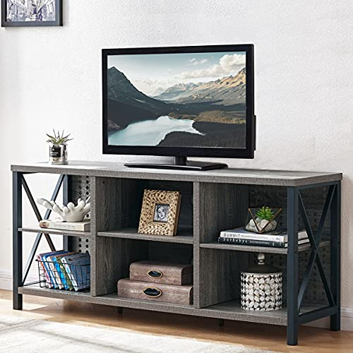 LVB TV Stand for 50 Inch TV, Mid Century Modern Entertainment Center with Storage for Bedroom, Farmhouse Wood and Metal Minimalist Rustic TV Console Table for Living Room Home, Grey Oak, 47 Inch
