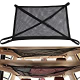 Car Storage Organizer Mesh Bag - Black Vehicle Ceiling Pocket Cargo Net, Double Layer High Elastic Universal Car Roof Interior Cargo Net Bag with Zipper, Blanket Toys Luggage Holder for Travel