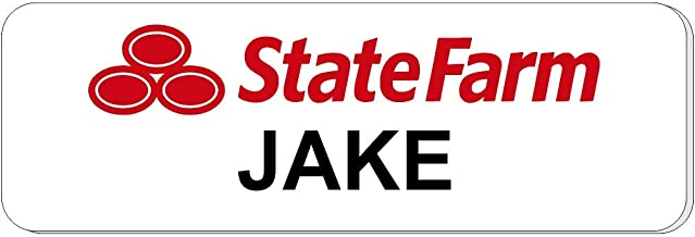 Jake from State Farm Halloween Costume Name Tag - Funny Halloween Costume (White)