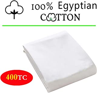 100% Egyptian Cotton 1 Fitted Sheet Only, 400 Thread Count Queen Size Fitted Sheet White, 16 Deep Pocket, Colorfast Dyes & Shrink Resistant, Soft & Silky Sateen Weave for Home & Hotel