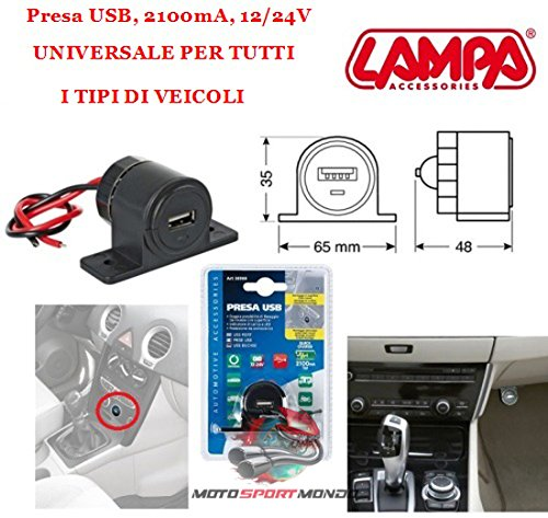 Prise USB avec Double Fixation Scooter Prise USB 38968 Lampa Noir avec indicateur de Charge à LED Prise USB, 2100 mA, 12/24 V Vis incluses