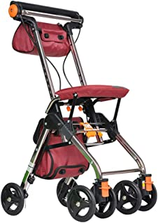 Rollator Walker with Seat, Mobility Aids 4 Wheels Portable Walking Aids Foldable, Medical Rolling Walker Double Brake System