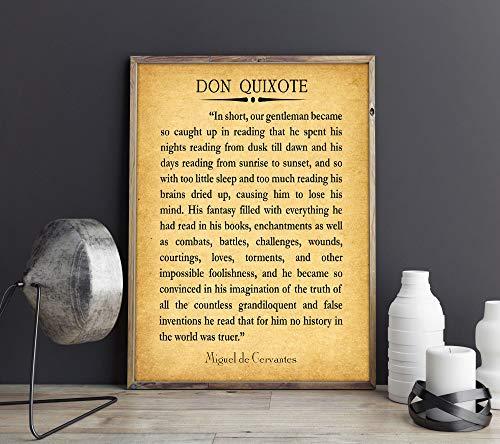 WallBuddy Don Quijote Libro Página Lectura Cita Don Quijote Cita Miguel de Cervantes (23.4 x 33.1 (A1), Vintage)